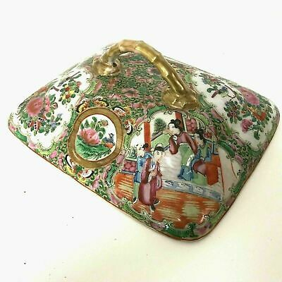 19th Century Chinese Famille Rose Serving Bowl Dish Lid Only  W/ Bamboo Handle