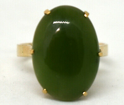 Antique Chinese 9K Solid Gold and Untreated Spinach Jade Ring Size 6.5