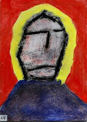 his tongue a threshold where both grief and joy must pass e9Art ACEO Outsider