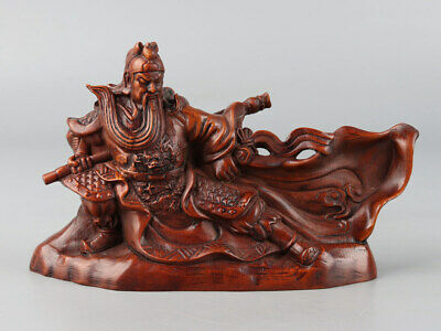 Chinese Exquisite Hand-carved Guan Yu Carving Boxwood statue