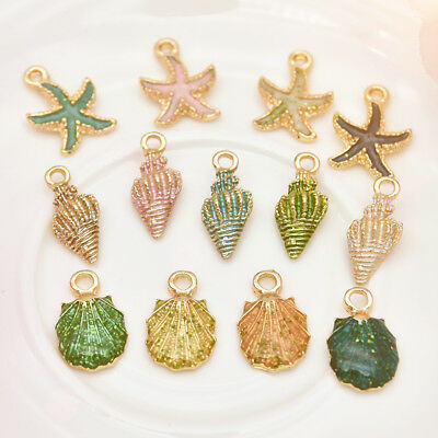 13 Pcs Ornaments Charms Metal Conch Sea Shell Pendants DIY Jewelry Making Set