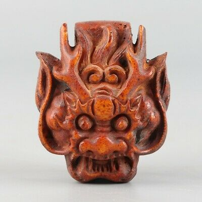 Chinese Exquisite Hand-carved beast Carving antlers belt buckle statue