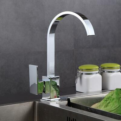 Modern Kitchen Sink Mixer Tap Single Lever Swivel Spout Chrome Brass Square