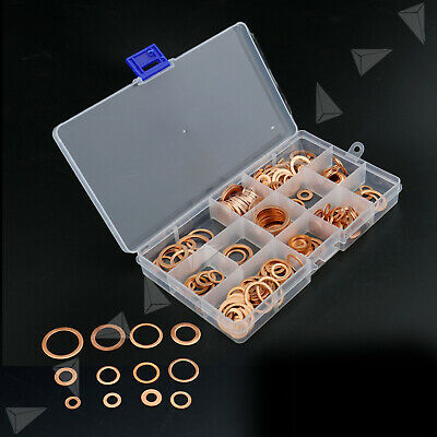 280Pcs Tap Plumbing Garage Engine Assorted Sump Plug Solid Copper Washer Set Kit