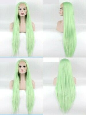 """AU 24"""" Apple Green Handtied Straight Synthetic Fiber Hair Lace Front Wig"""