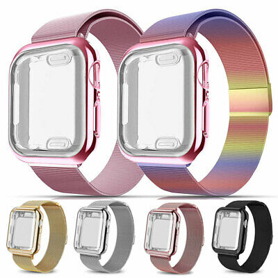 Magnetic Milanese Band Strap+360° Full Case Cover For Apple Watch Series 5 4 3 2