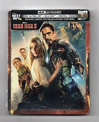 Iron Man 3 - 4K UHD + 2D - Best Buy Exclusive Blu-ray Steelbook - NEU/OVP