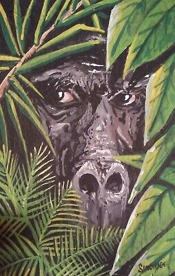 """ORIGINAL ACRYLIC  PAINTING ACEO """"THE WATCHER"""" Signed by artist"""