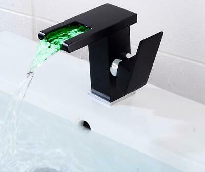 Black Water Powered LED Faucet Bathroom Basin Faucet Brass Mixer Tap Waterfall