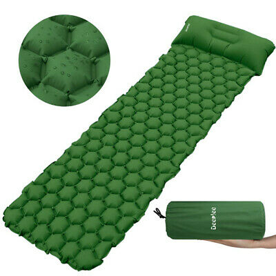 Inflatable Sleeping Mat Camping Hiking Air Pad Roll Bed Mattress With Pillow AU