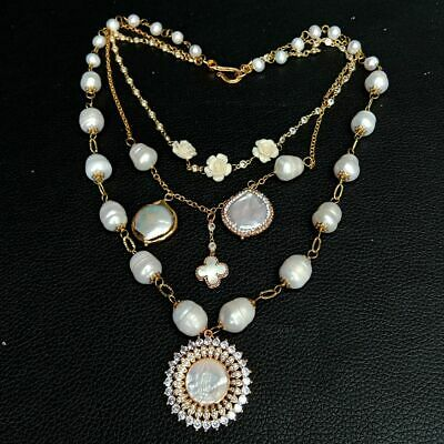 3 Rows Cultured White Pearl layered chain Necklace CZ Mop Pendant 17''