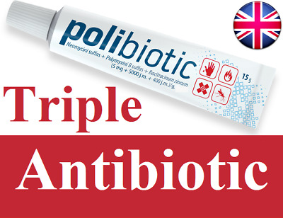 Triple Antibiotic cream Skin Infection Anti bacterial Treatment Dogs Cat 15g