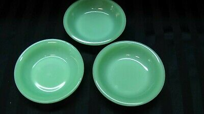 "3 Fire King Jadeite Restaurant Ware  Berry Bowls 4 3/4"" MINT"