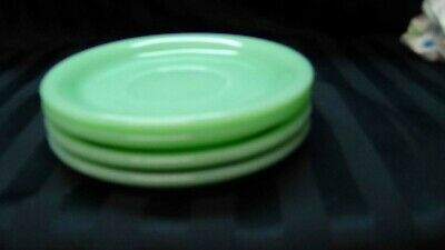 "4 FIRE KING JADEITE 6"" SAUCER SET HEAVY RESTAURANT WARE Mint"