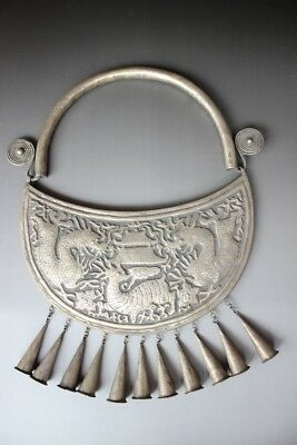Chinese Ethnic Miao Silver Handmade Carve Dragon Necklace