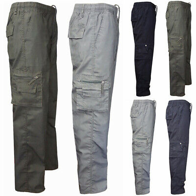 Mens Elasticated Cargo Combat Work Lightweight Casual Trousers Pants Bottoms UK