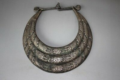 Chinese Ethnic Miao Silver Handmade Three circles Carve Dragon Necklace