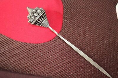 Tribal exotic chinese handmade Carving miao silver Hairpin Headdress SZ023