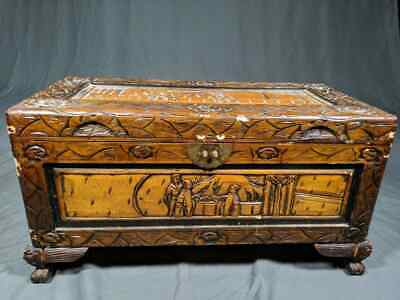 Vintage Carved Samurai Oriental Japanese Trunk Wood Blanket Storage Chest Table