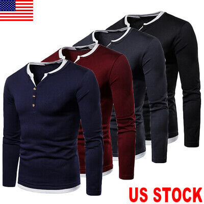 Mens Slim Fit V Neck Long Sleeve Muscle Tee T-shirt Casual Tops Henley Shirts US