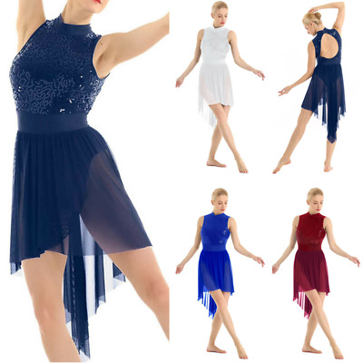 Women Sequin Lyrical Ballet Dance Dress High Low Leotard Skirt Dancewear Costume