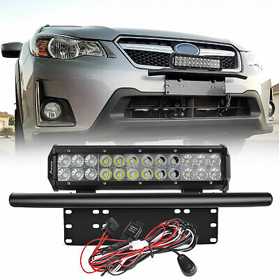 12inch 200W CREE LED Light Bar+23 License Mount Bull Bar Number Plate Frame+Wire