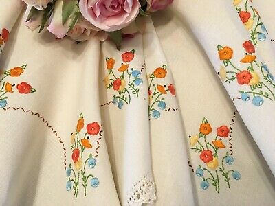 Stunning Vintage Hand Embroidered Tablecloth/Suppercloth 96cm x 96cm