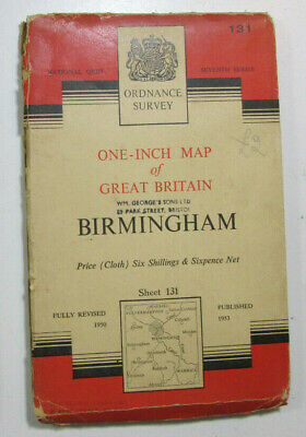 1953 Old OS Ordnance Survey Seventh Series One-Inch CLOTH Map 131 Birmingham