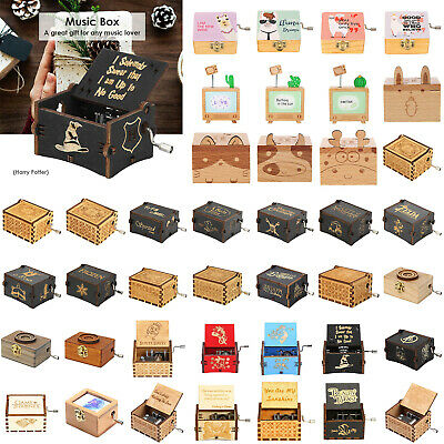 Wooden Music Box Harry Potter Game of Thrones Star Wars Engraved Toys Xmas DIY