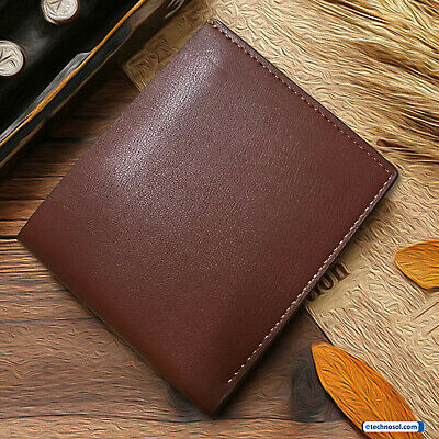Genuine Mens Leather Wallet Luxury Quality ID Credit Card Holder Purse Brown UK