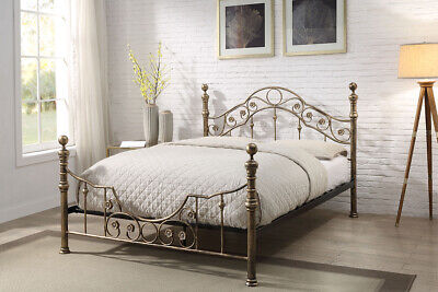 Antique Style Brushed Brass Metal Bed Frame Double King Size