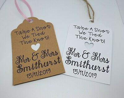 10X large size Personalised We Tied the Knot Take a Shot  Wedding Tags Thank You