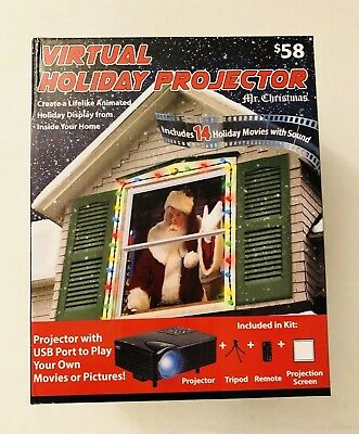 Mr. Christmas Virtual Holiday Projector 14 Holiday Movies With Sound & USB Port
