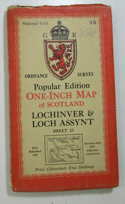 1947 OS Ordnance Survey One Inch Popular Ed Dissect Map 15 Lochinver Loch Assynt