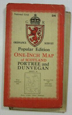 1947 OS Ordnance Survey One Inch Popular Edition CLOTH Map 24 Portree & Dunvegan