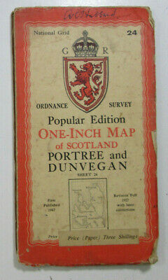 1947 Old OS Ordnance Survey One Inch Popular Edition Map 24 Portree & Dunvegan
