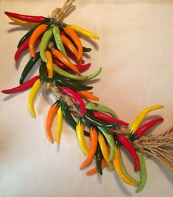 Mexican Hanging Ceramic Chilli Peppers Plaited Kitchen Party Decoration
