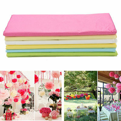20 Sheets Tissue Paper Flower Wrapping Kids DIY Crafts Materials 6 Colors UK FG