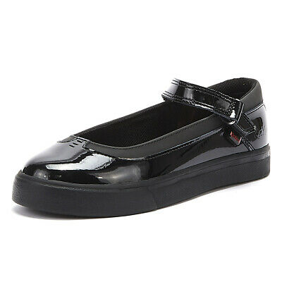 Kickers Tovni MJ Junior Black Patent Shoes Kids School Casual
