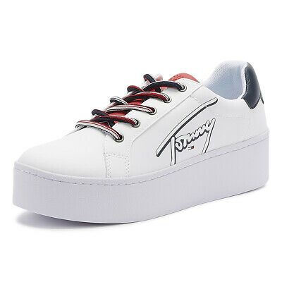 Tommy Jeans Icon Signature Flatform Womens White Leather Trainers Casual Shoes
