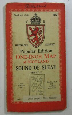 1947 OS Ordnance Survey Scotland One Inch Popular Edition Map 35 Sound of Sleat