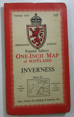 1947 Old OS Ordnance Survey One Inch Popular Edition CLOTH Map 37 Inverness