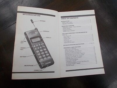 Mitsubishi MT-996 Mobile Phone Operating Instructions 116 pages