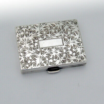 Scroll Engraved Compact Sterling Silver 1930
