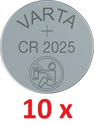 10 x Originale Varta CR2025 3V Litio Batteria Bottone Cr 2025 10 Pezzo Top