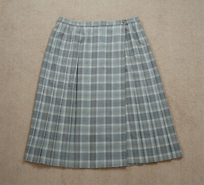 Vintage St Michael from Marks & Spencer Wool Check Pleated Wrap Skirt