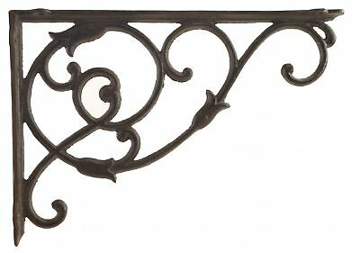 "Decorative Cast Iron Wall Shelf Bracket Brace Ornate Vine Rust Brown 13.5"" D"