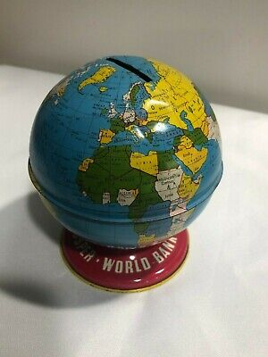 Vintage Metal Globe Piggy Bank-The Ohio Art Co., Made in USA