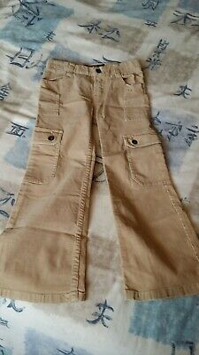 DKNY Designer Girls Cargo Style cord Trousers Beige Age 5 yrs