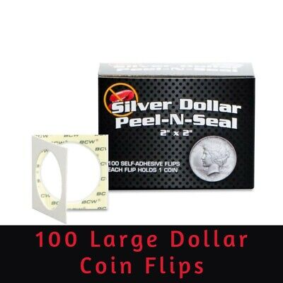 100 BCW Peel-N-Seal 2x2 Self Adhesive Flips Large Dollar Coins Archival Holders